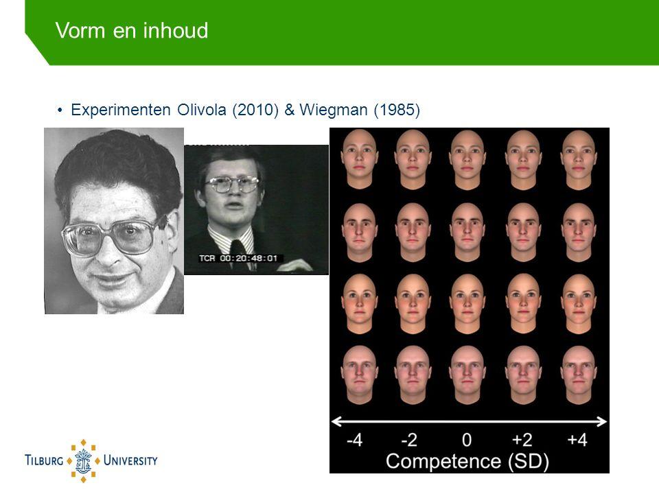 Experimenten Olivola (2010) & Wiegman (1985) Vorm en inhoud