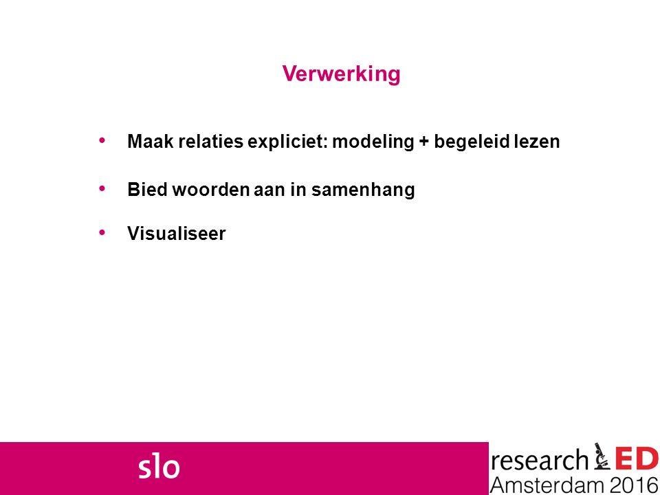Verwerking Maak relaties expliciet: modeling + begeleid lezen Bied woorden aan in samenhang Visualiseer