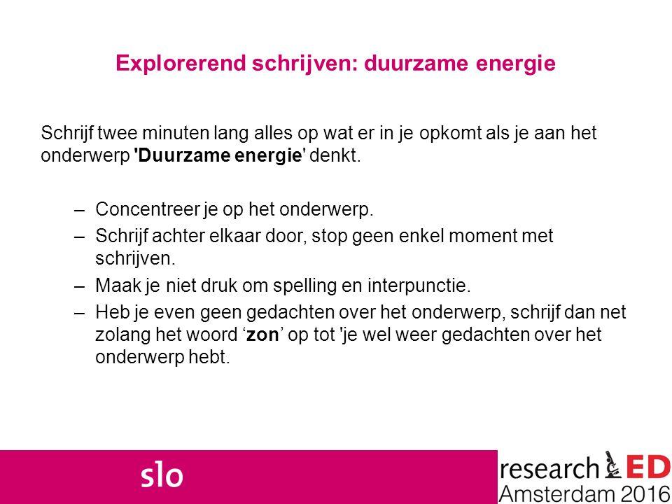 Explorerend schrijven: duurzame energie Schrijf twee minuten lang alles op wat er in je opkomt als je aan het onderwerp 'Duurzame energie' denkt. –Con