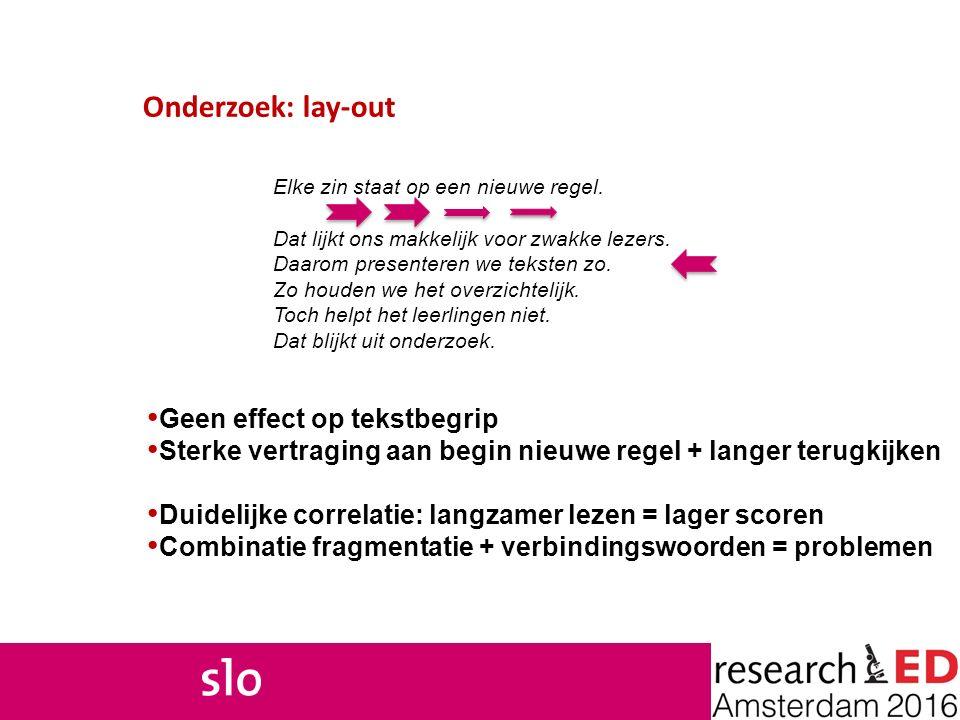 Onderzoek: lay-out Geen effect op tekstbegrip Sterke vertraging aan begin nieuwe regel + langer terugkijken Duidelijke correlatie: langzamer lezen = l