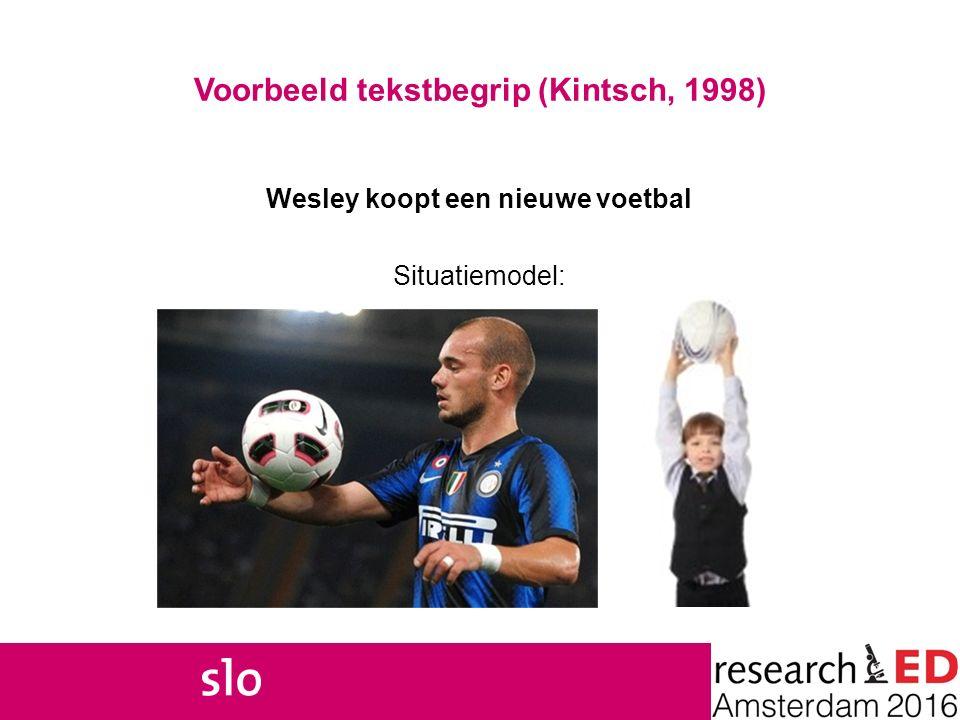 7 Voorbeeld tekstbegrip (Kintsch, 1998) Wesley koopt een nieuwe voetbal Situatiemodel: