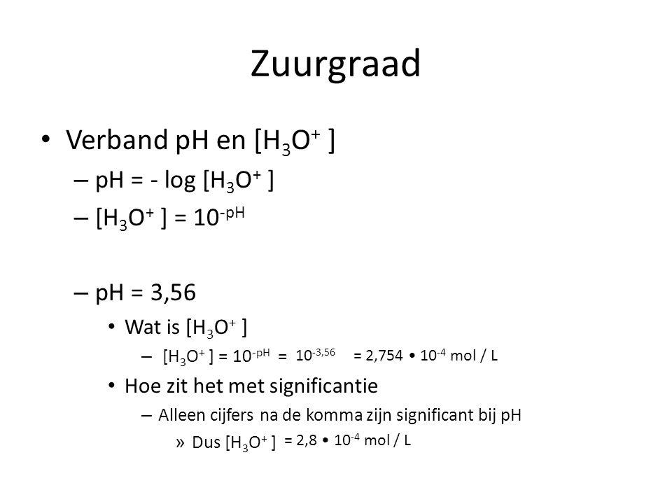 Zuurgraad Verband pH en [H 3 O + ] – pH = - log [H 3 O + ] – [H 3 O + ] = 10 -pH – pH = 3,56 Wat is [H 3 O + ] – [H 3 O + ] = 10 -pH = Hoe zit het met significantie – Alleen cijfers na de komma zijn significant bij pH » Dus [H 3 O + ] 10 -3,56 = 2,754 10 -4 mol / L = 2,8 10 -4 mol / L