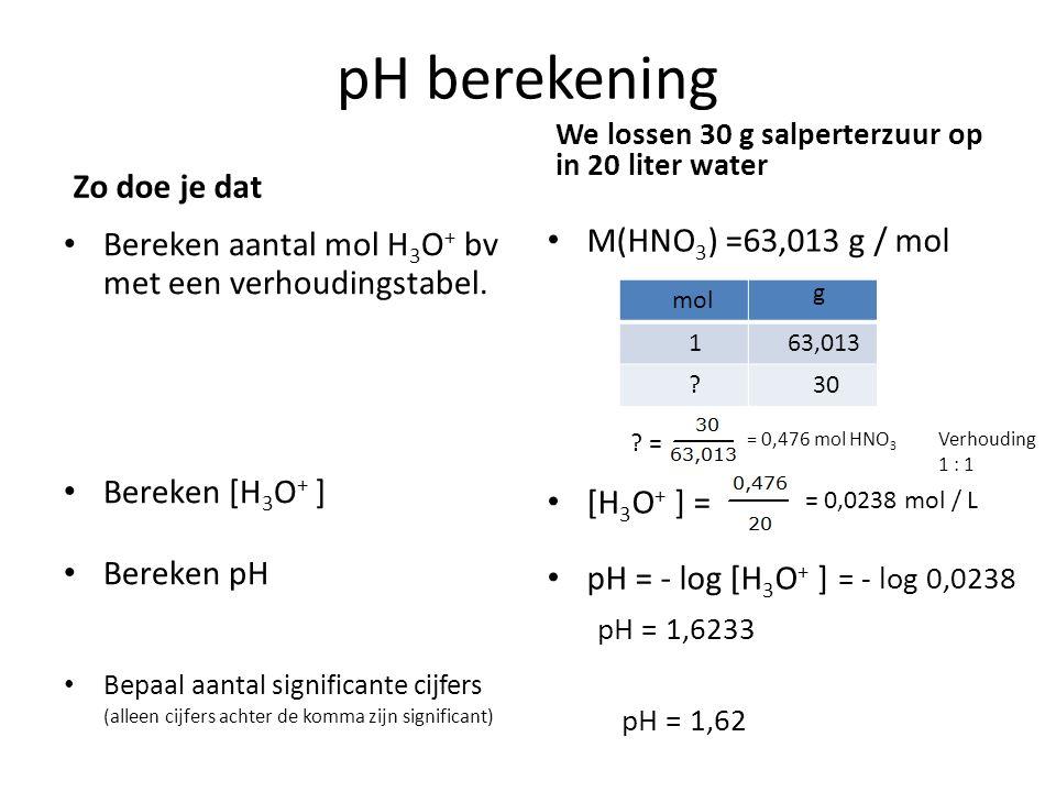 pOH berekening Zo doe je dat Bereken aantal mol OH - bv met een verhoudingstabel.