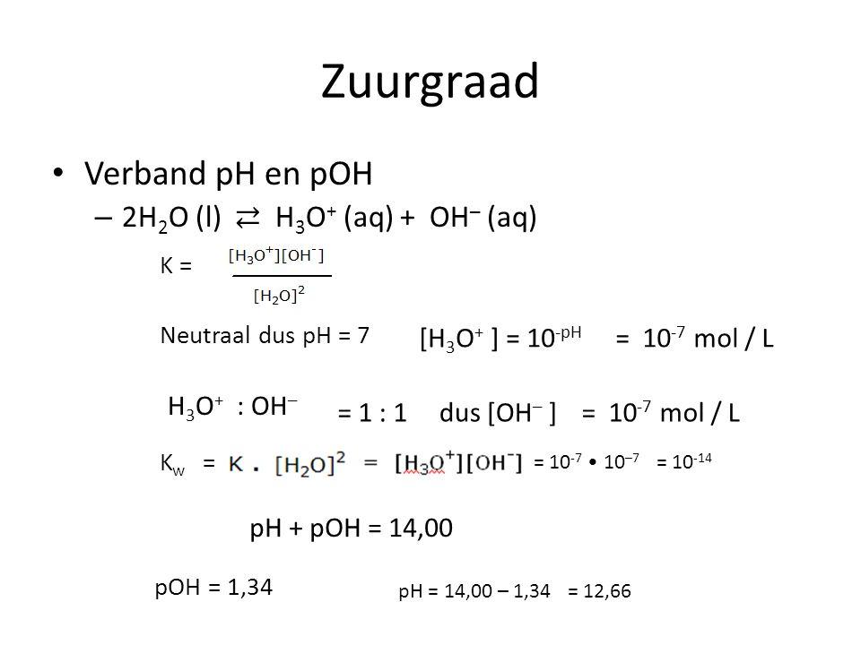 Zuurgraad Verband pH en pOH – 2H 2 O (l) ⇄ H 3 O + (aq) + OH ─ (aq) K = Neutraal dus pH = 7 K w = [H 3 O + ] = 10 -pH = 10 -7 mol / L = 1 : 1dus [OH ─ ]= 10 -7 mol / L H 3 O + : OH ─ = 10 -7 10 ─7 = 10 -14 pH + pOH = 14,00 pOH = 1,34 pH = 14,00 – 1,34= 12,66