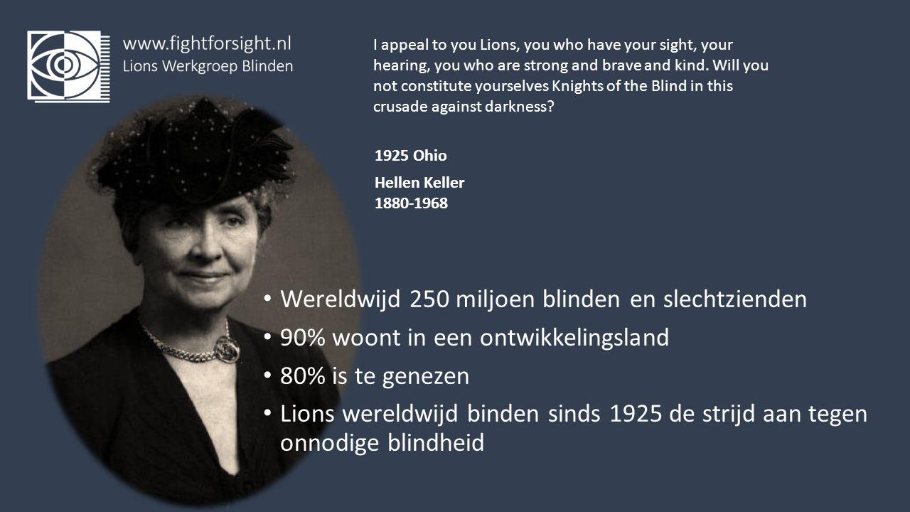 Wereldwijd 250 miljoen blinden en slechtzienden 90% woont in een ontwikkelingsland 80% is te genezen Lions wereldwijd binden sinds 1925 de strijd aan tegen onnodige blindheid I appeal to you Lions, you who have your sight, your hearing, you who are strong and brave and kind.