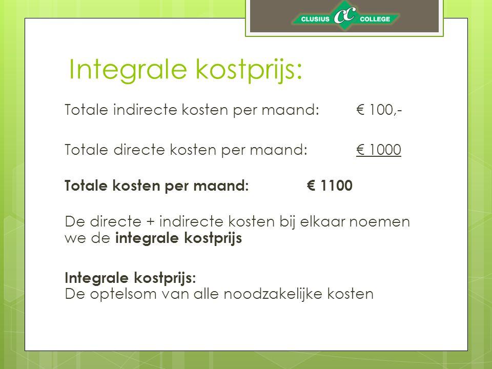 Integrale kostprijs: Totale indirecte kosten per maand:€ 100,- Totale directe kosten per maand:€ 1000 Totale kosten per maand: € 1100 De directe + ind