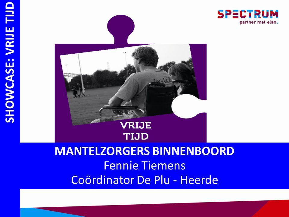 SHOWCASE: VRIJE TIJD MANTELZORGERS BINNENBOORD Fennie Tiemens Coördinator De Plu - Heerde