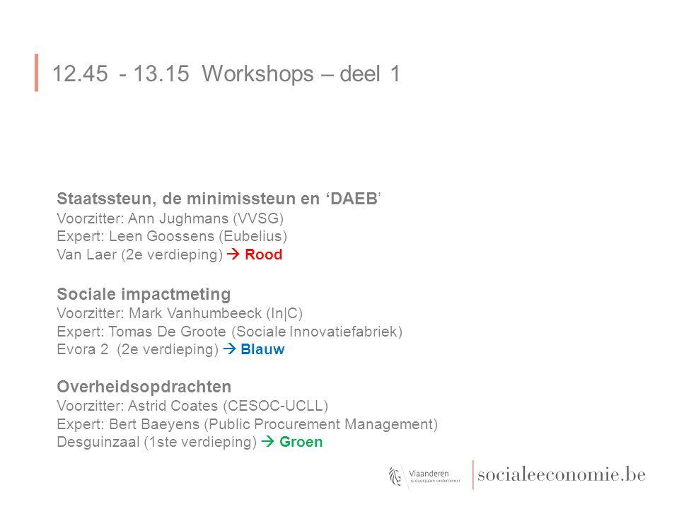 12.45- 13.15 Workshops – deel 1 Staatssteun, de minimissteun en 'DAEB' Voorzitter: Ann Jughmans (VVSG) Expert: Leen Goossens (Eubelius) Van Laer (2e verdieping)  Rood Sociale impactmeting Voorzitter: Mark Vanhumbeeck (In|C) Expert: Tomas De Groote (Sociale Innovatiefabriek) Evora 2 (2e verdieping)  Blauw Overheidsopdrachten Voorzitter: Astrid Coates (CESOC-UCLL) Expert: Bert Baeyens (Public Procurement Management) Desguinzaal (1ste verdieping)  Groen