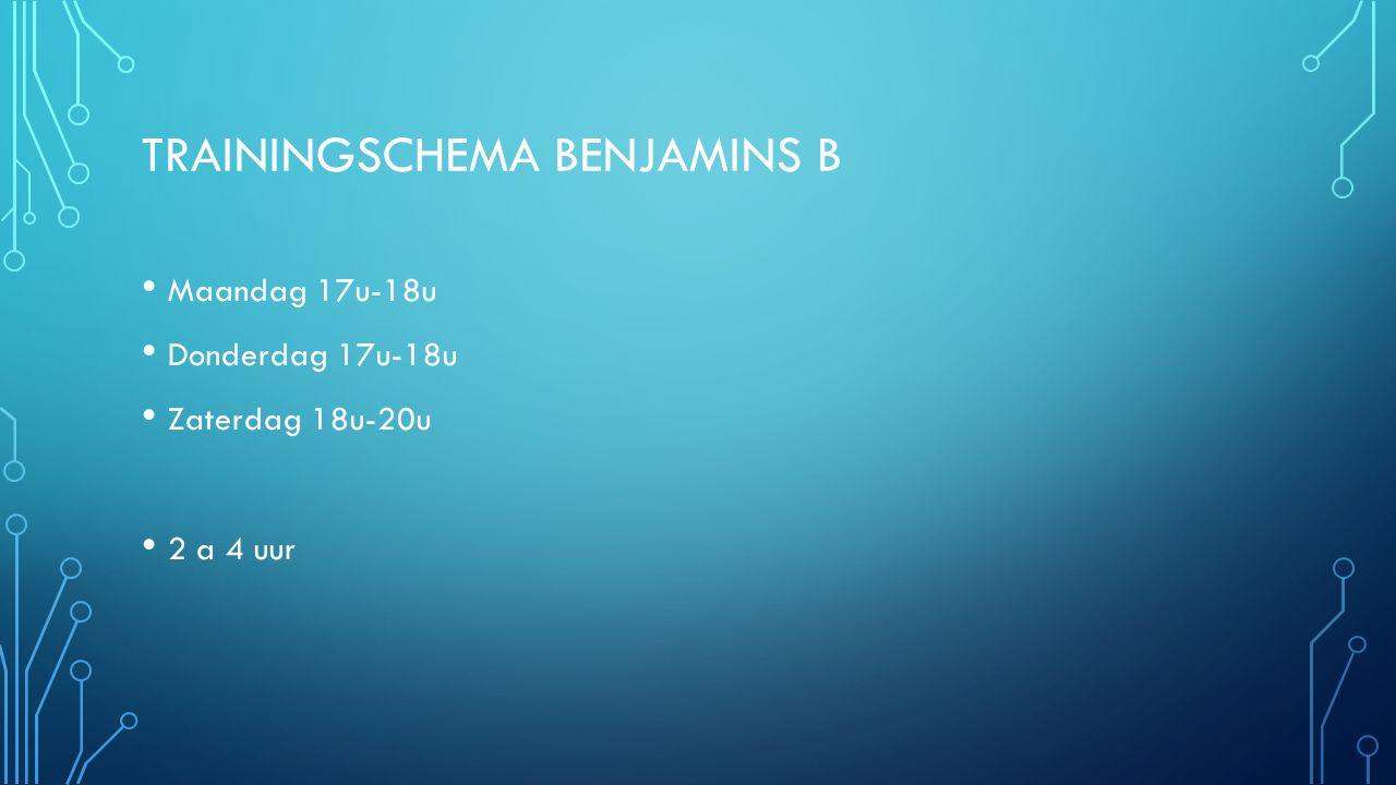 TRAININGSCHEMA BENJAMINS B Maandag 17u-18u Donderdag 17u-18u Zaterdag 18u-20u 2 a 4 uur