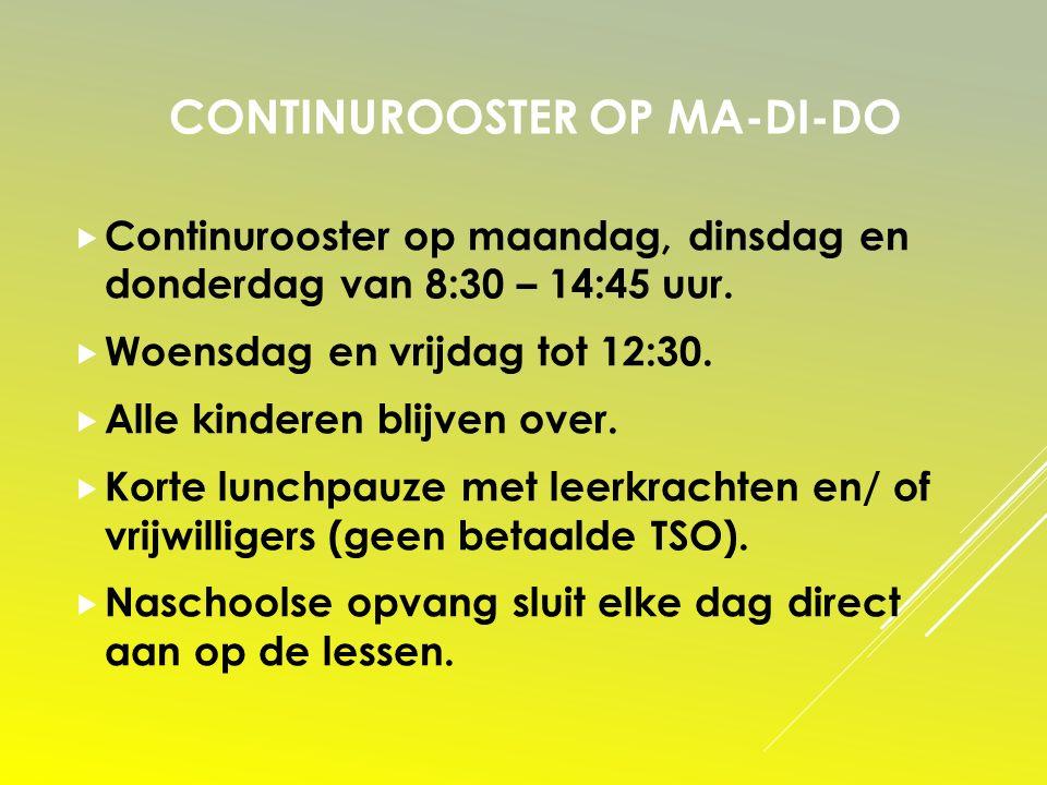 CONTINUROOSTER OP MA-DI-DO  Continurooster op maandag, dinsdag en donderdag van 8:30 – 14:45 uur.  Woensdag en vrijdag tot 12:30.  Alle kinderen bl