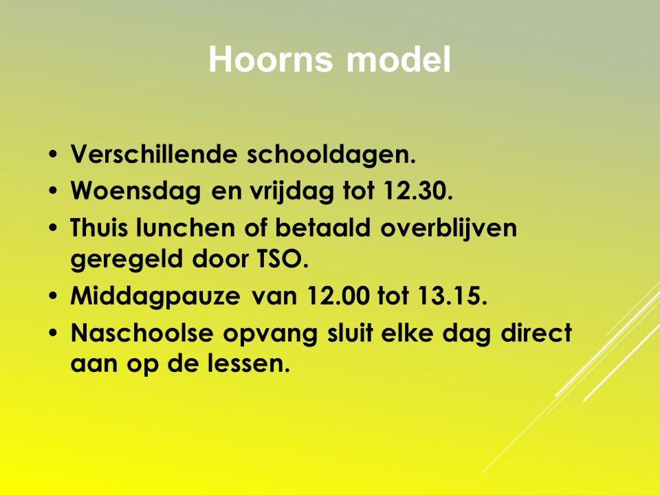Hoorns model Verschillende schooldagen. Woensdag en vrijdag tot 12.30. Thuis lunchen of betaald overblijven geregeld door TSO. Middagpauze van 12.00 t