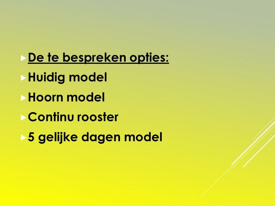  De te bespreken opties:  Huidig model  Hoorn model  Continu rooster  5 gelijke dagen model