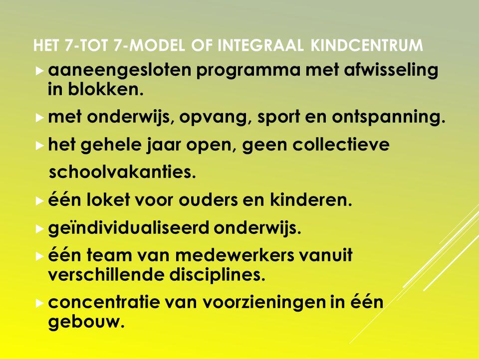 HET 7-TOT 7-MODEL OF INTEGRAAL KINDCENTRUM  aaneengesloten programma met afwisseling in blokken.  met onderwijs, opvang, sport en ontspanning.  het