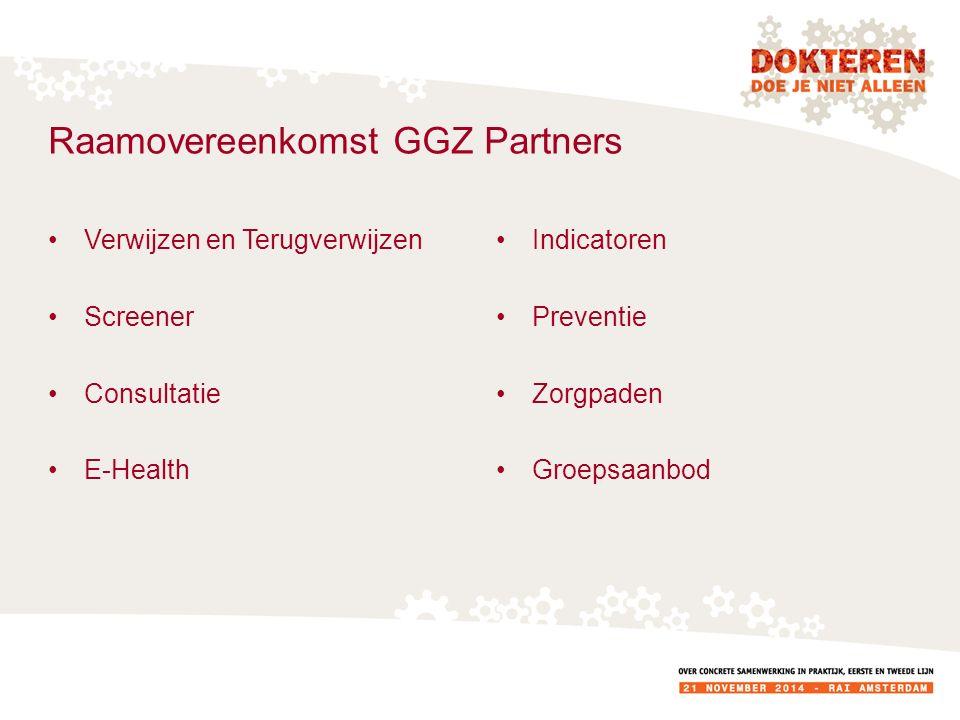 Raamovereenkomst GGZ Partners Verwijzen en Terugverwijzen Screener Consultatie E-Health Indicatoren Preventie Zorgpaden Groepsaanbod