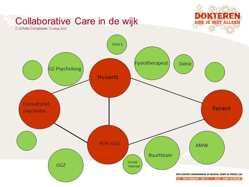 Collaborative Care in de wijk C.vd Feltz-Cornelissen, Trimbos, 2012 Consultatief psychiater Huisarts POH GGZ Patiënt GZ-Psycholoog Fysiotherapeut Buur
