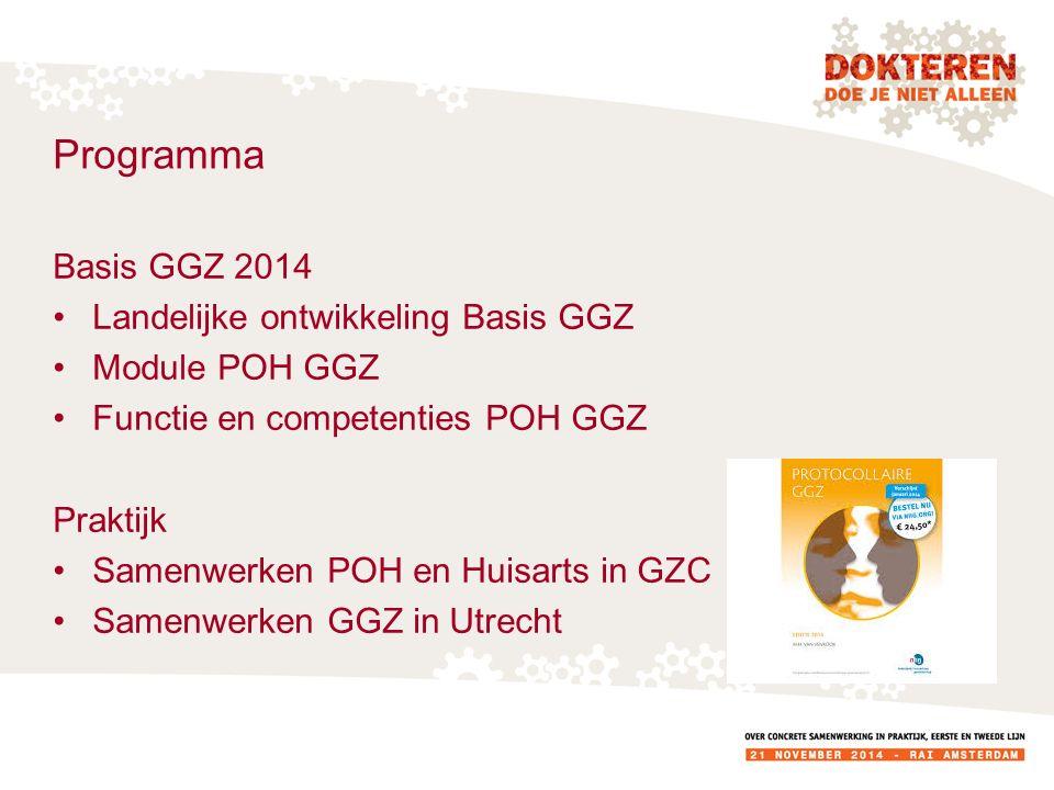 Programma Basis GGZ 2014 Landelijke ontwikkeling Basis GGZ Module POH GGZ Functie en competenties POH GGZ Praktijk Samenwerken POH en Huisarts in GZC