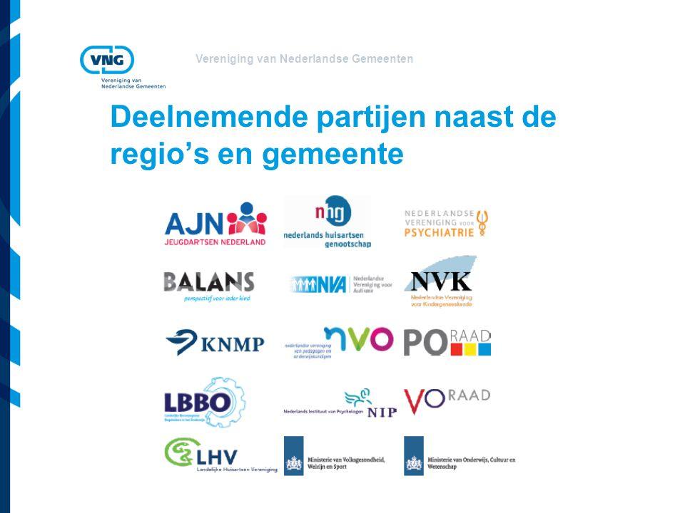Vereniging van Nederlandse Gemeenten Deelnemende partijen naast de regio's en gemeente