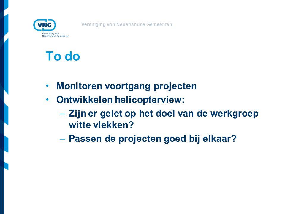 Vereniging van Nederlandse Gemeenten To do Monitoren voortgang projecten Ontwikkelen helicopterview: –Zijn er gelet op het doel van de werkgroep witte vlekken.