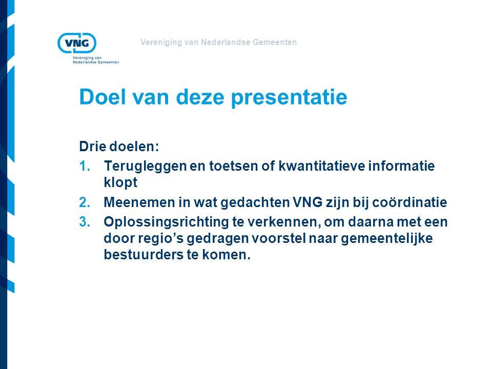 Vereniging van Nederlandse Gemeenten Doel van deze presentatie Drie doelen: 1.Terugleggen en toetsen of kwantitatieve informatie klopt 2.Meenemen in wat gedachten VNG zijn bij coördinatie 3.Oplossingsrichting te verkennen, om daarna met een door regio's gedragen voorstel naar gemeentelijke bestuurders te komen.