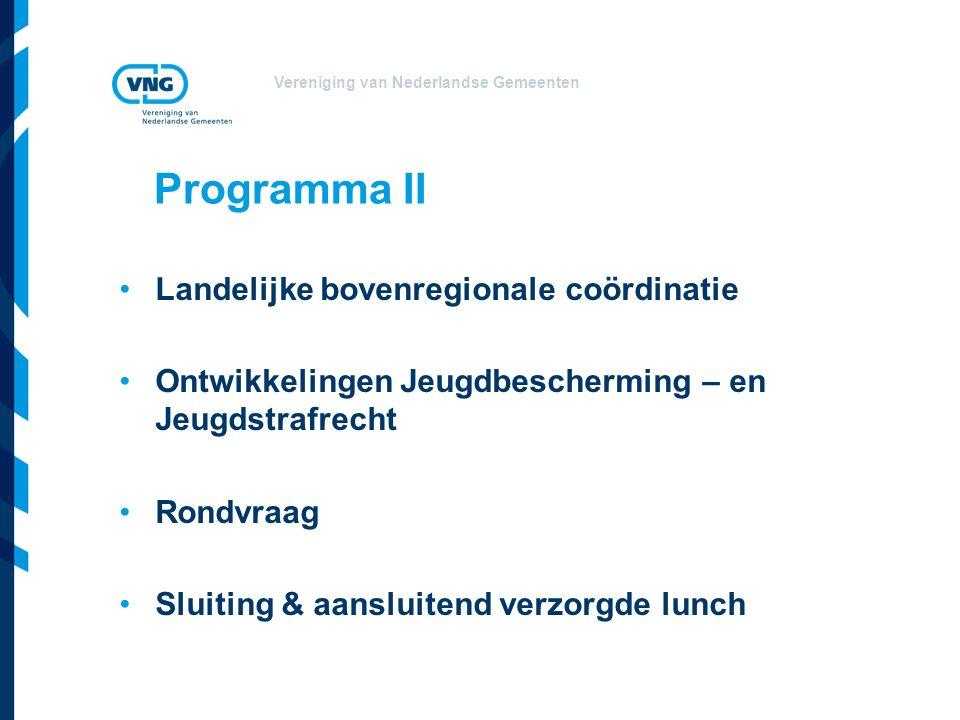 Vereniging van Nederlandse Gemeenten Programma II Landelijke bovenregionale coördinatie Ontwikkelingen Jeugdbescherming – en Jeugdstrafrecht Rondvraag Sluiting & aansluitend verzorgde lunch