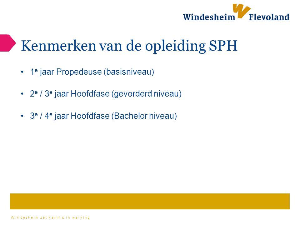 Windesheim zet kennis in werking Kenmerken van de opleiding SPH 1 e jaar Propedeuse (basisniveau) 2 e / 3 e jaar Hoofdfase (gevorderd niveau) 3 e / 4 e jaar Hoofdfase (Bachelor niveau)