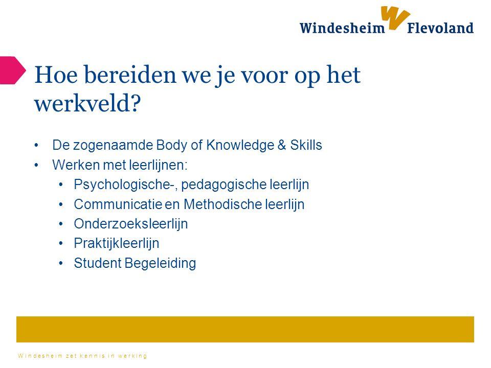 Windesheim zet kennis in werking Hoe bereiden we je voor op het werkveld.