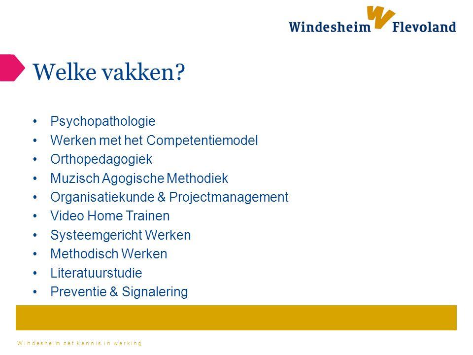 Windesheim zet kennis in werking Welke vakken.