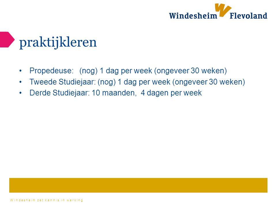 Windesheim zet kennis in werking praktijkleren Propedeuse: (nog) 1 dag per week (ongeveer 30 weken) Tweede Studiejaar: (nog) 1 dag per week (ongeveer 30 weken) Derde Studiejaar: 10 maanden, 4 dagen per week