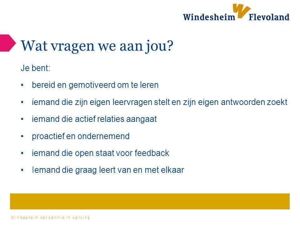 Windesheim zet kennis in werking Wat vragen we aan jou.