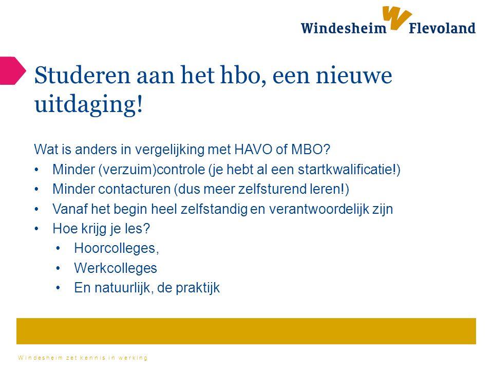 Windesheim zet kennis in werking Studeren aan het hbo, een nieuwe uitdaging.