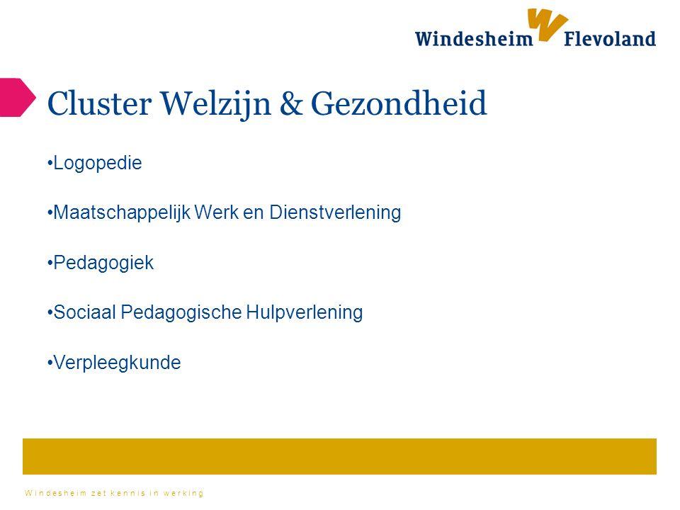 Windesheim zet kennis in werking Cluster Welzijn & Gezondheid Logopedie Maatschappelijk Werk en Dienstverlening Pedagogiek Sociaal Pedagogische Hulpverlening Verpleegkunde
