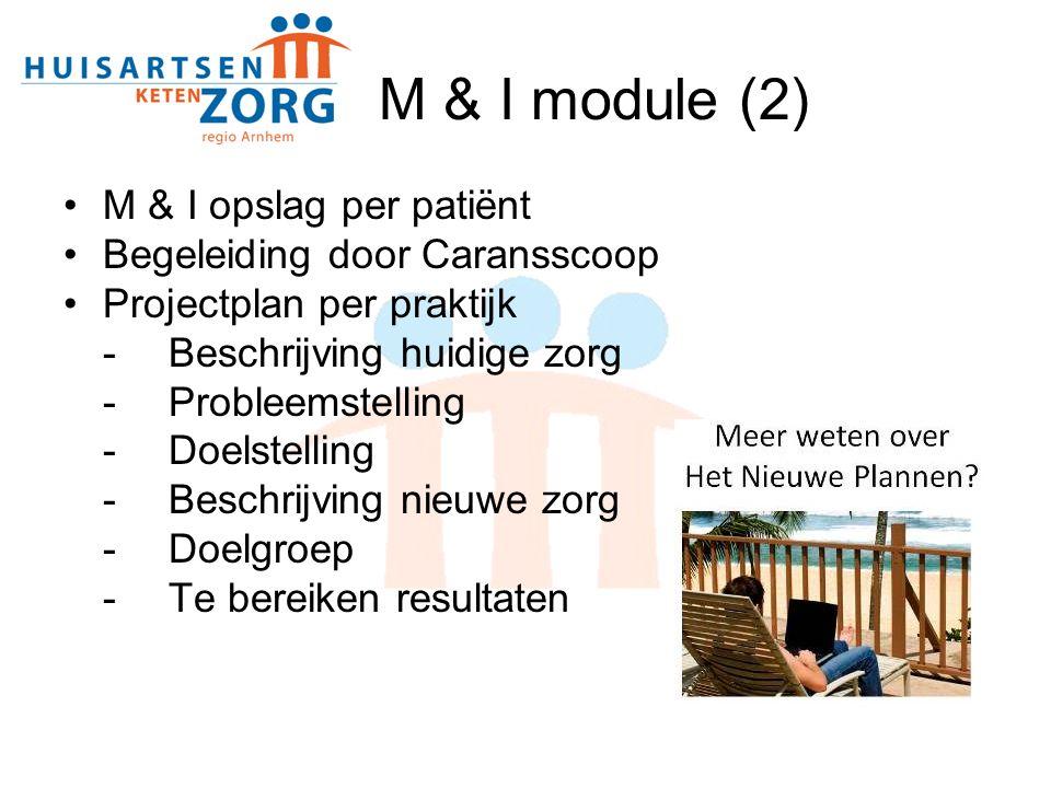 M & I module (2) M & I opslag per patiënt Begeleiding door Caransscoop Projectplan per praktijk - Beschrijving huidige zorg - Probleemstelling -Doelstelling -Beschrijving nieuwe zorg -Doelgroep -Te bereiken resultaten
