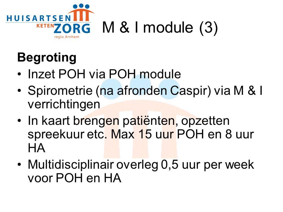 M & I module (3) Begroting Inzet POH via POH module Spirometrie (na afronden Caspir) via M & I verrichtingen In kaart brengen patiënten, opzetten spreekuur etc.