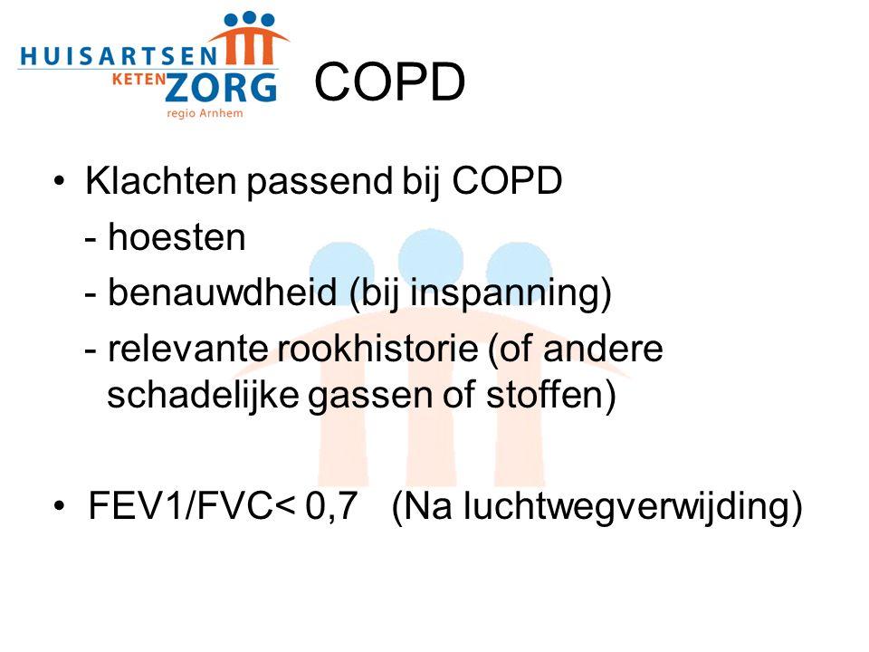 COPD Klachten passend bij COPD - hoesten - benauwdheid (bij inspanning) - relevante rookhistorie (of andere schadelijke gassen of stoffen) FEV1/FVC< 0,7 (Na luchtwegverwijding)