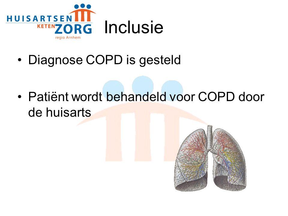Inclusie Diagnose COPD is gesteld Patiënt wordt behandeld voor COPD door de huisarts