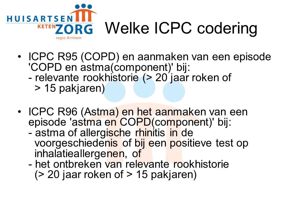 Welke ICPC codering ICPC R95 (COPD) en aanmaken van een episode COPD en astma(component) bij: - relevante rookhistorie (> 20 jaar roken of > 15 pakjaren) ICPC R96 (Astma) en het aanmaken van een episode astma en COPD(component) bij: - astma of allergische rhinitis in de voorgeschiedenis of bij een positieve test op inhalatieallergenen, of - het ontbreken van relevante rookhistorie (> 20 jaar roken of > 15 pakjaren)