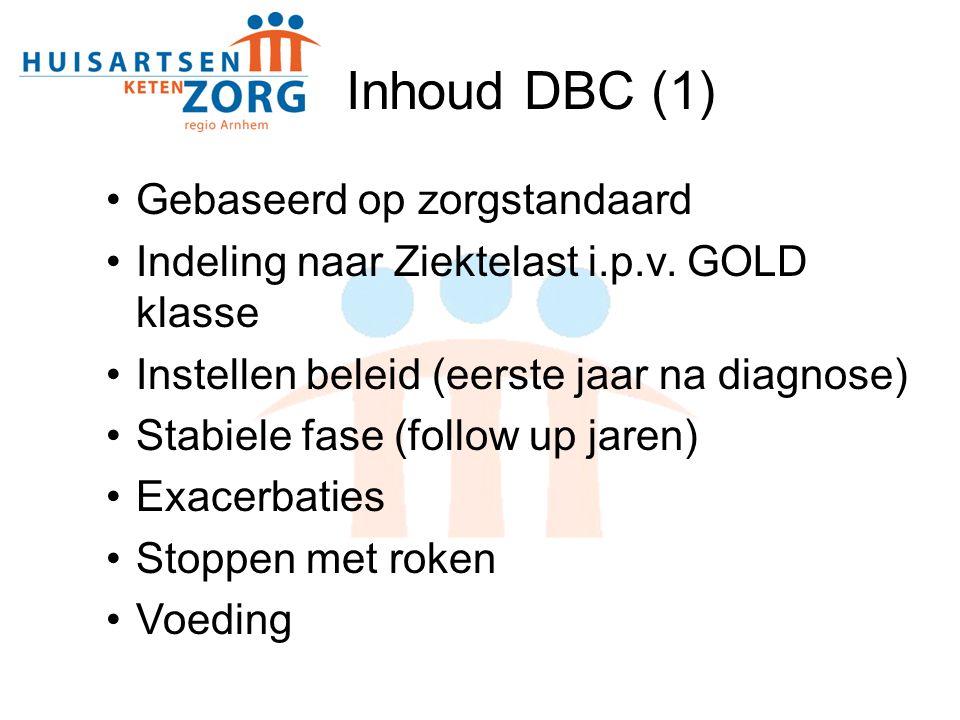 Gebaseerd op zorgstandaard Indeling naar Ziektelast i.p.v. GOLD klasse Instellen beleid (eerste jaar na diagnose) Stabiele fase (follow up jaren) Exac