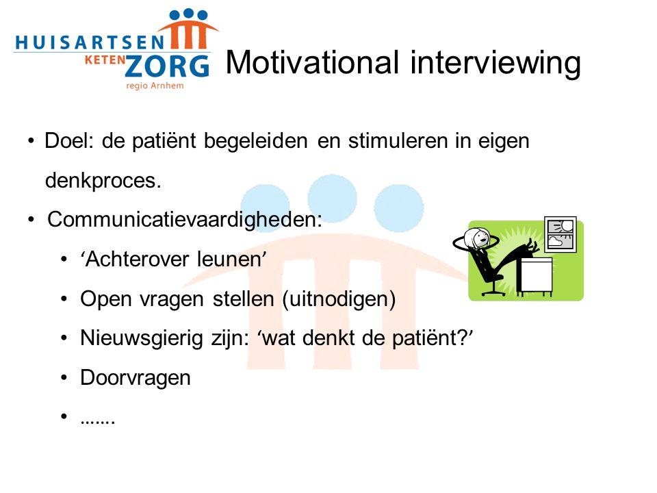 Doel: de patiënt begeleiden en stimuleren in eigen denkproces. Communicatievaardigheden: ' Achterover leunen ' Open vragen stellen (uitnodigen) Nieuws