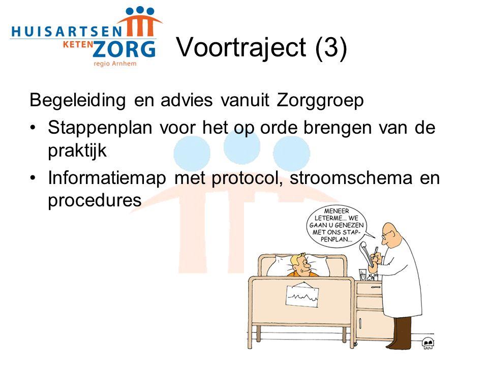 Voortraject (3) Begeleiding en advies vanuit Zorggroep Stappenplan voor het op orde brengen van de praktijk Informatiemap met protocol, stroomschema en procedures