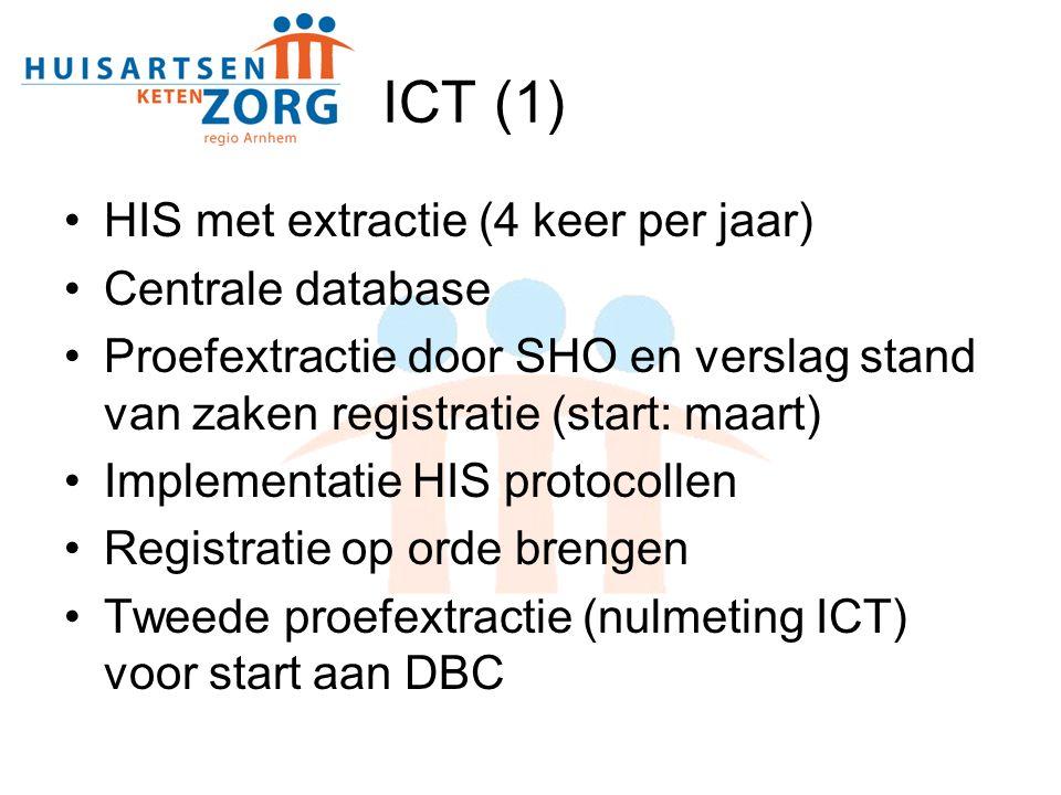 ICT (1) HIS met extractie (4 keer per jaar) Centrale database Proefextractie door SHO en verslag stand van zaken registratie (start: maart) Implementatie HIS protocollen Registratie op orde brengen Tweede proefextractie (nulmeting ICT) voor start aan DBC