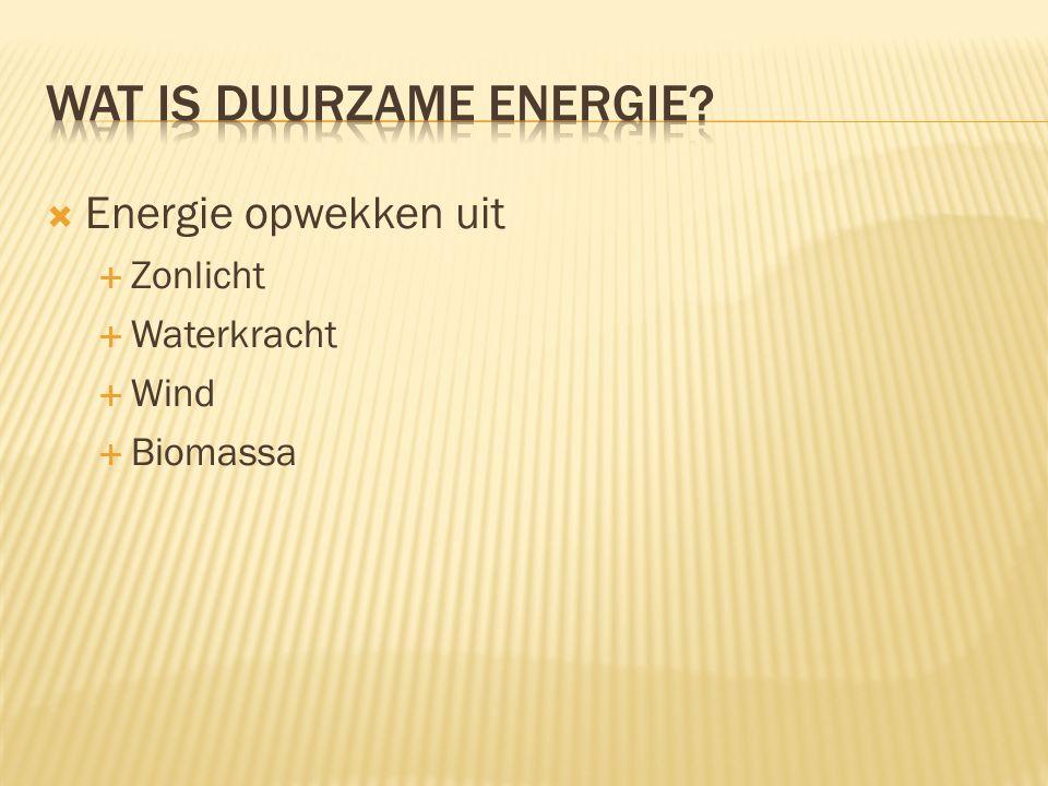  Energie opwekken uit  Zonlicht  Waterkracht  Wind  Biomassa