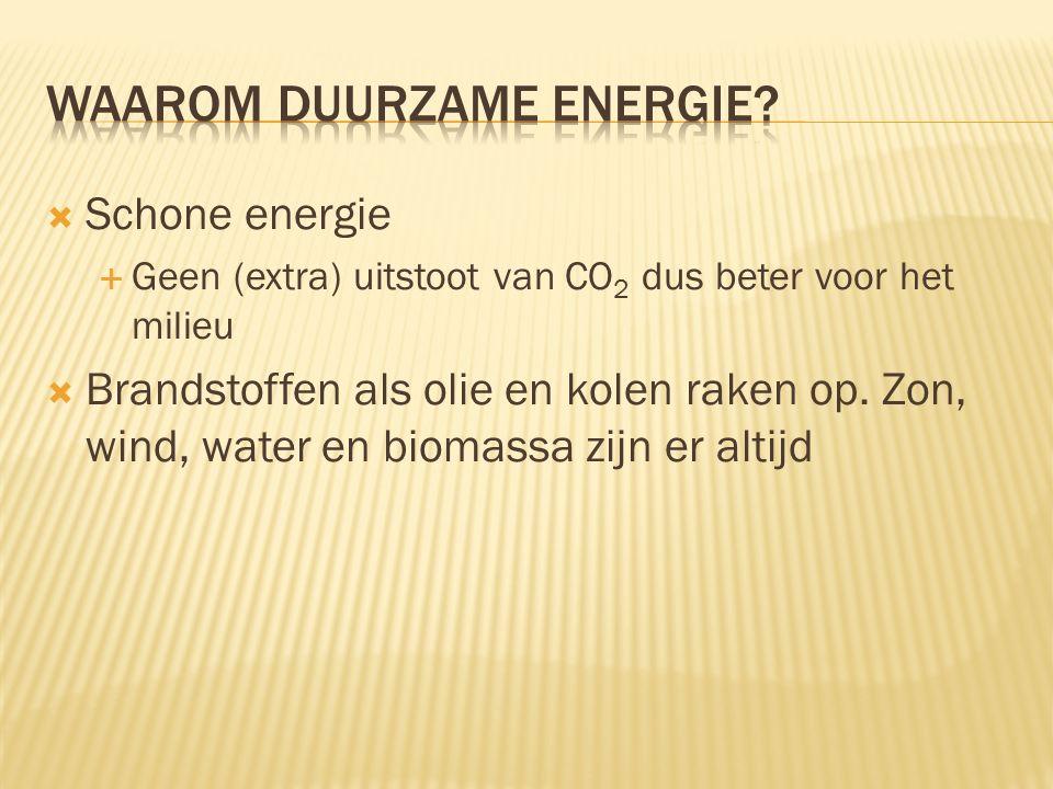  Schone energie  Geen (extra) uitstoot van CO 2 dus beter voor het milieu  Brandstoffen als olie en kolen raken op. Zon, wind, water en biomassa zi