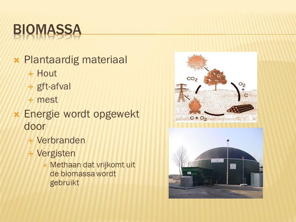  Plantaardig materiaal  Hout  gft-afval  mest  Energie wordt opgewekt door  Verbranden  Vergisten  Methaan dat vrijkomt uit de biomassa wordt gebruikt