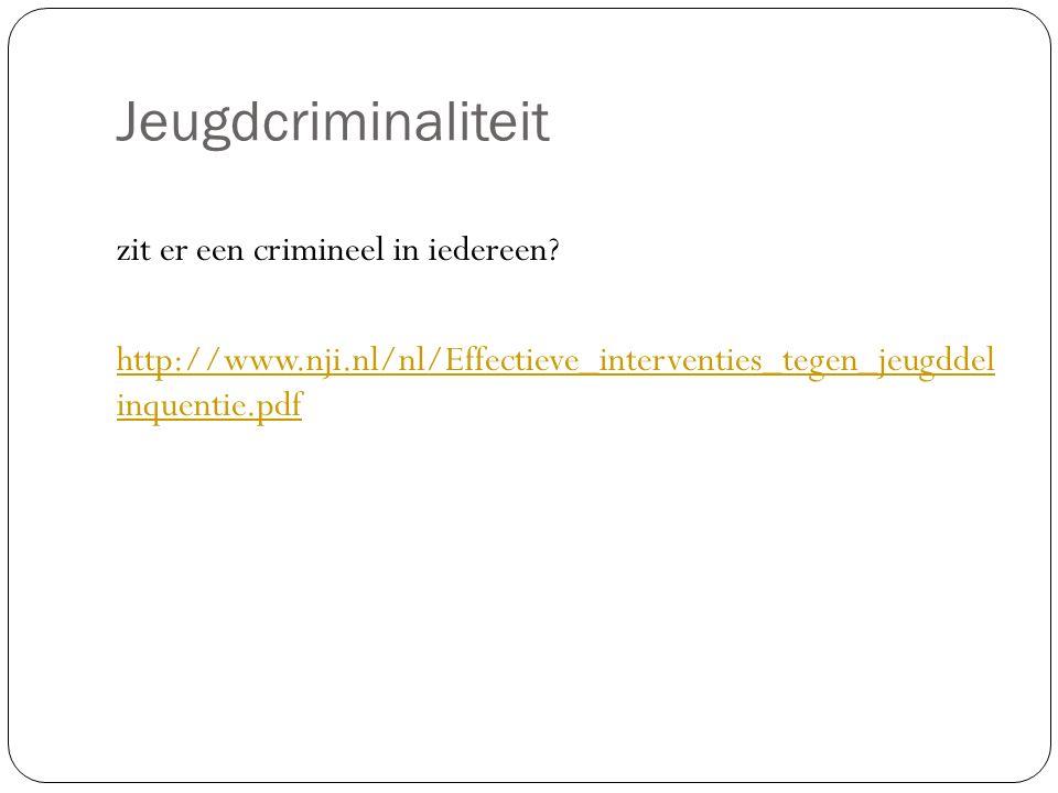 Jeugdcriminaliteit zit er een crimineel in iedereen.