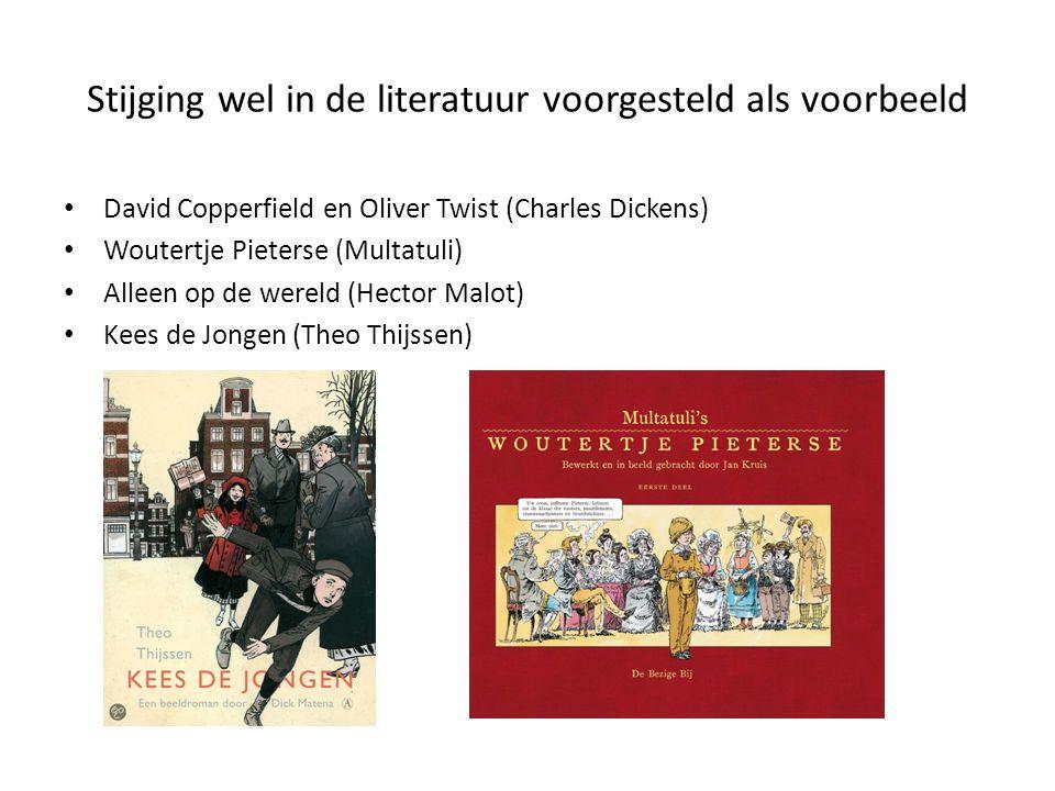 Stijging wel in de literatuur voorgesteld als voorbeeld David Copperfield en Oliver Twist (Charles Dickens) Woutertje Pieterse (Multatuli) Alleen op de wereld (Hector Malot) Kees de Jongen (Theo Thijssen)