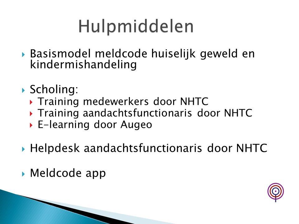  Basismodel meldcode huiselijk geweld en kindermishandeling  Scholing:  Training medewerkers door NHTC  Training aandachtsfunctionaris door NHTC 
