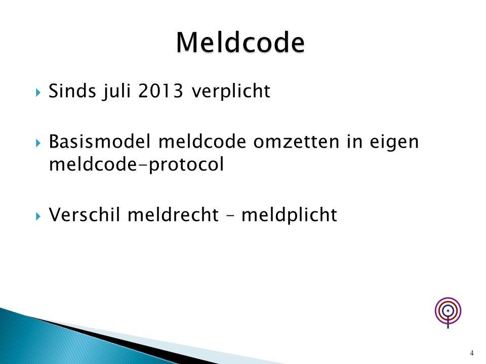  Sinds juli 2013 verplicht  Basismodel meldcode omzetten in eigen meldcode-protocol  Verschil meldrecht – meldplicht 4