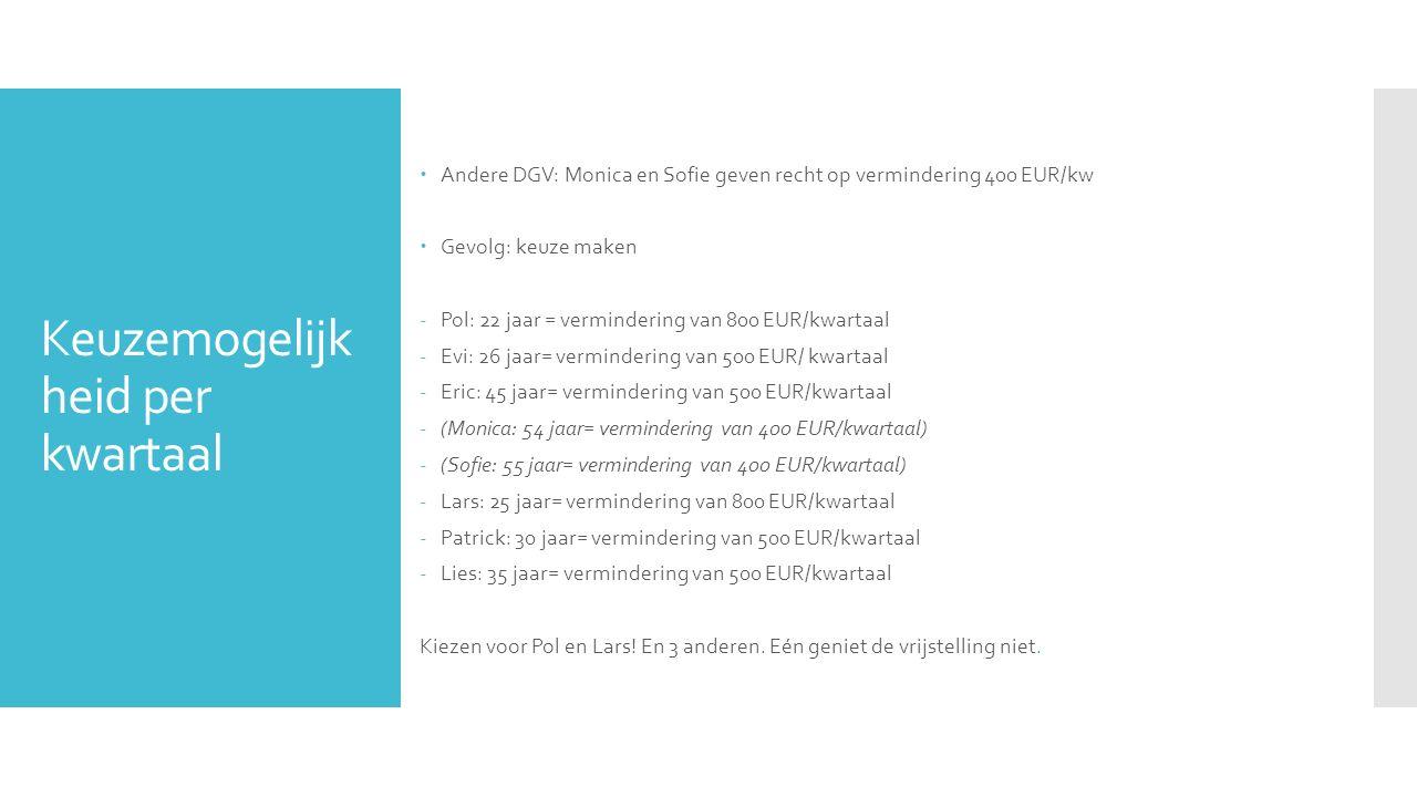 Keuzemogelijk heid per kwartaal  Andere DGV: Monica en Sofie geven recht op vermindering 400 EUR/kw  Gevolg: keuze maken -Pol: 22 jaar = verminderin