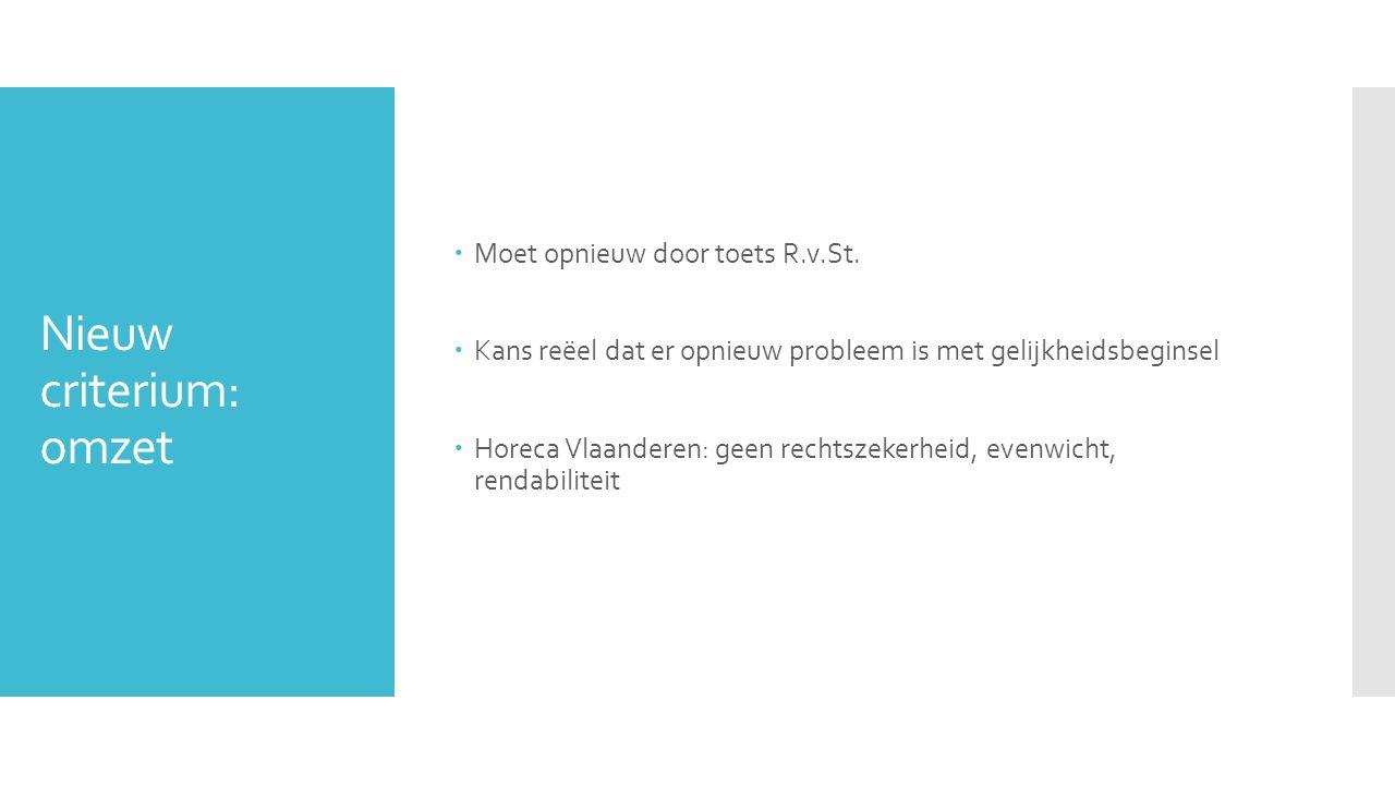 Nieuw criterium: omzet  Moet opnieuw door toets R.v.St.  Kans reëel dat er opnieuw probleem is met gelijkheidsbeginsel  Horeca Vlaanderen: geen rec