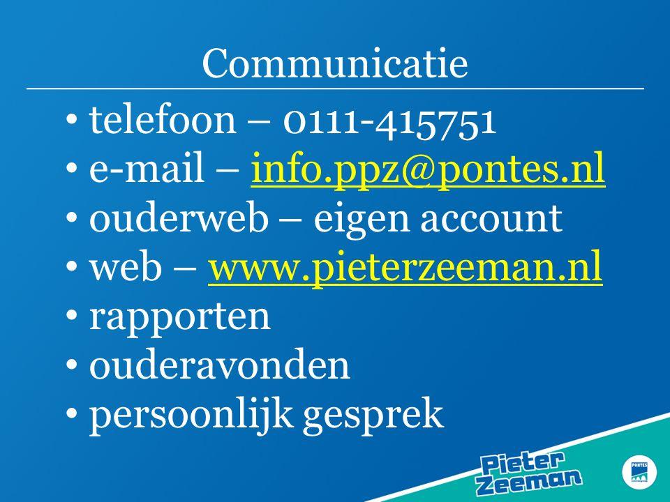 Communicatie telefoon – 0111-415751 e-mail – info.ppz@pontes.nlinfo.ppz@pontes.nl ouderweb – eigen account web – www.pieterzeeman.nlwww.pieterzeeman.nl rapporten ouderavonden persoonlijk gesprek